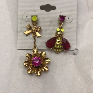 Betsey Johnson earrings flowers and bees